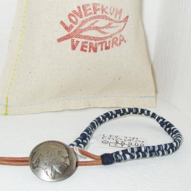 画像1: 新品 USA製 LOVE FROM VENTURA 絣 藍染 インディゴ アンティークコイン ハンドメイド ブレスレット 1 00's / 160312