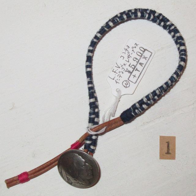 画像2: 新品 USA製 LOVE FROM VENTURA 絣 藍染 インディゴ アンティークコイン ハンドメイド ブレスレット 1 00's / 160312
