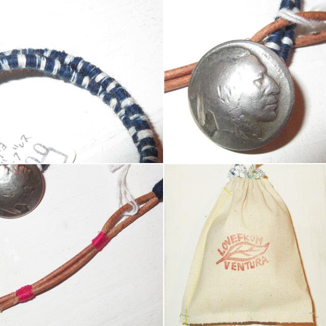 画像3: 新品 USA製 LOVE FROM VENTURA 絣 藍染 インディゴ アンティークコイン ハンドメイド ブレスレット 1 00's / 160312