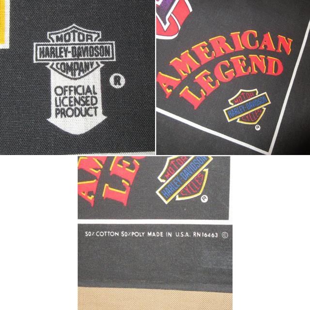 画像3: 古着 HARLEY DAVIDSON ハーレーダヴィッドソン USA製 バンダナ 国旗 90's アンティーク / 160314