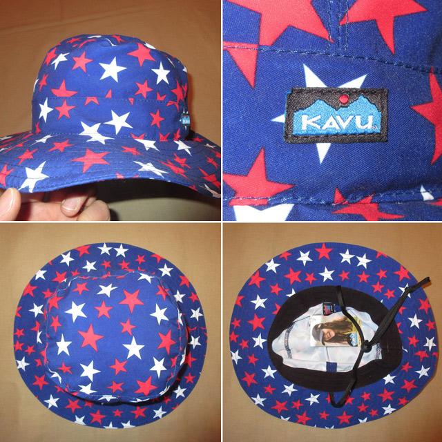 画像2: 新品 KAVU カブー USA製 バケツハット バケットハット 星柄 フラッグ アウトドア HAT 帽子 BLUE 00's / 160315