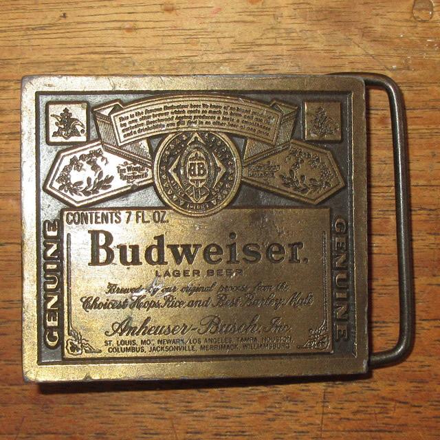 画像1: アンティーク Budweiser バドワイザー 真鍮 ブラス バックル 企業物 70's / 160514