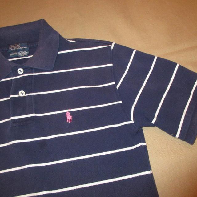 画像3: 古着 Ralph Lauren ラルフローレン 鹿の子 ボーダー ポロシャツ NVY/WHT 00's / 160604