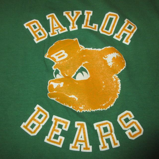画像3: 古着 BAYLOR BEARS カレッジ フットボール Tシャツ GRN/YEL 80's / 160618