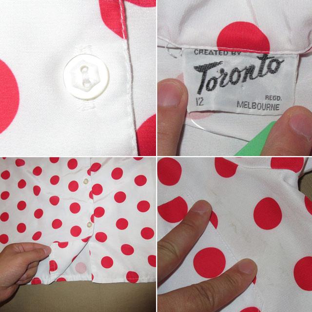 画像5: 古着 Toronto トロント ドット柄 ポリ 半袖シャツ WHT/RED 80's / 160704