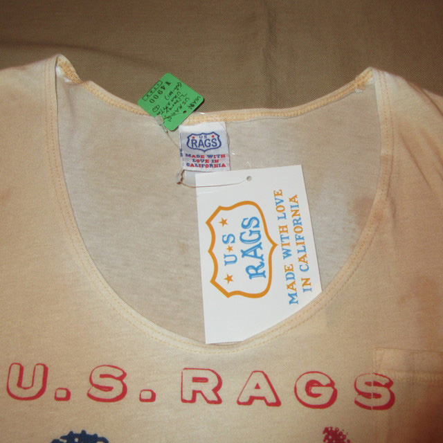 画像4: 新品 US RAGS ユーエスラグス 自由の女神 胸ポケ Tシャツ BEI USA製 00's / 160713
