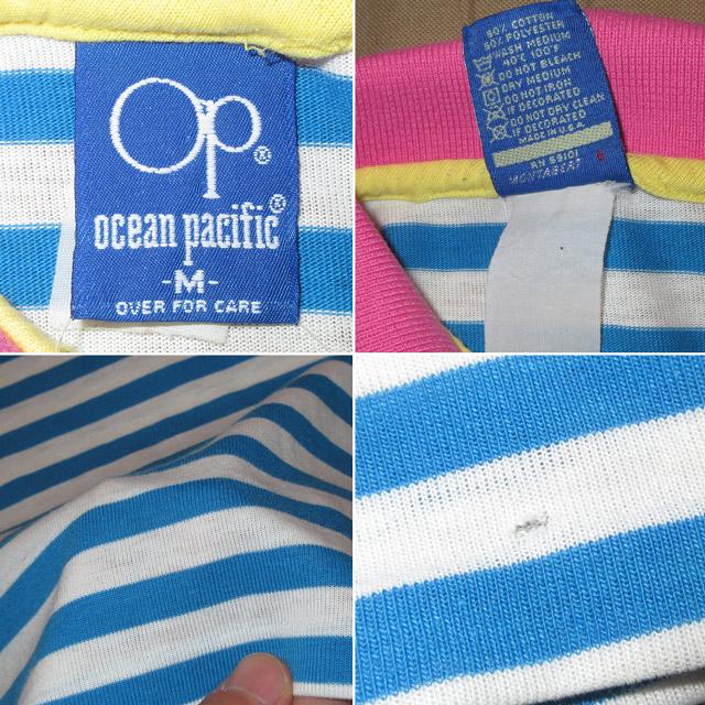 画像5: 古着 OCEAN PACIFIC OP オーシャンパシフィック ボーダー サーフ ポロシャツ MIX 80's / 160802