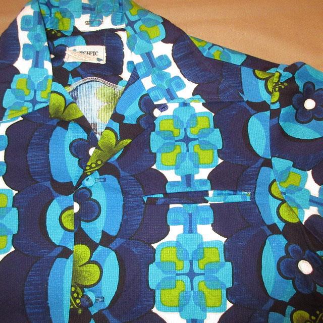 画像3: 古着 PACIFIC ISLE ハワイアン アロハシャツ BLUE 70's / 160815
