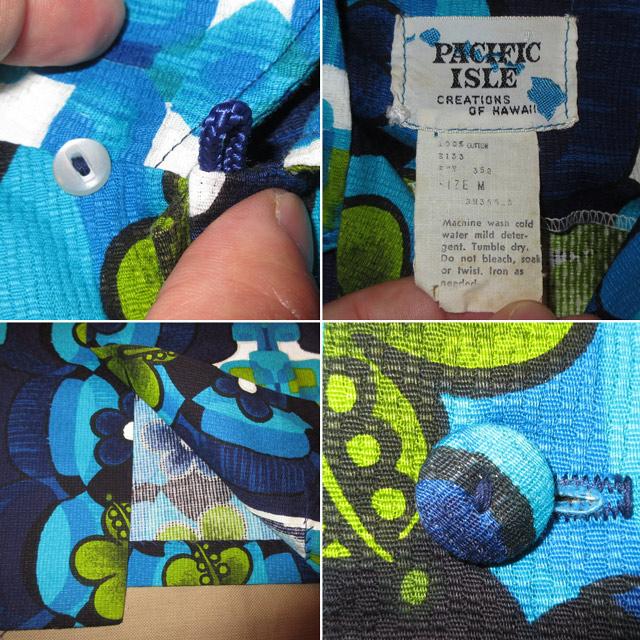 画像4: 古着 PACIFIC ISLE ハワイアン アロハシャツ BLUE 70's / 160815