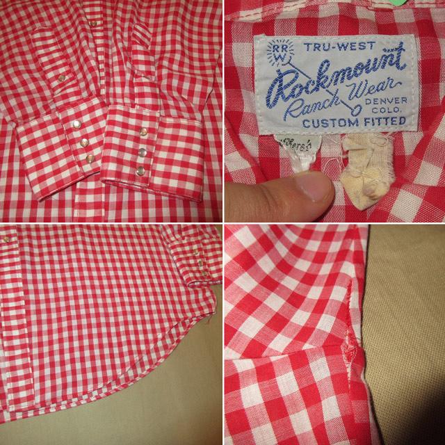 画像4: 古着 Rockmount ロックマウント ギンガムチェックシャツ RED/WHT 80's /160829