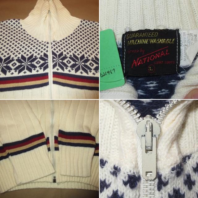 画像4: 古着 NATIONAL ナショナル ノルディック ハイネック ニット カーディガン セーター WHT 70's / 161110