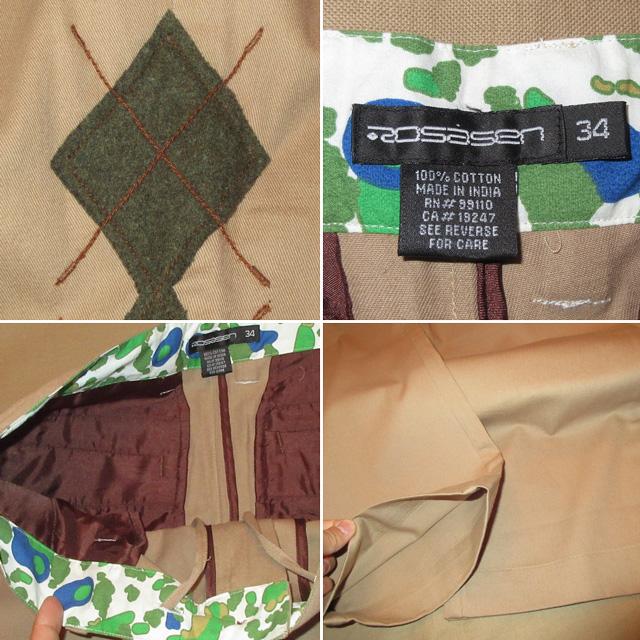 画像3: 新品 ROSASEN ロサーセン GOLF アーガイル柄 ゴルフ スラックス パンツ BEI 00's /161203