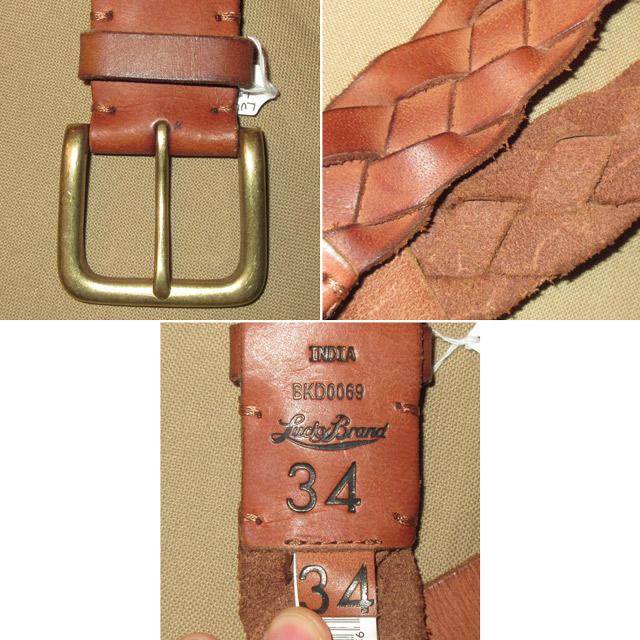 画像3: 新品 LUCKY BRAND ラッキーブランド レザーベルト メッシュベルト BRW 00's / 170105