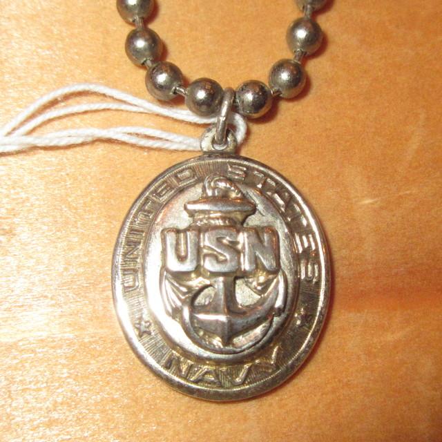 画像1: アンティーク US NAVY USN アメリカ軍 海軍 ミリタリー シルバーペンダント / 170416