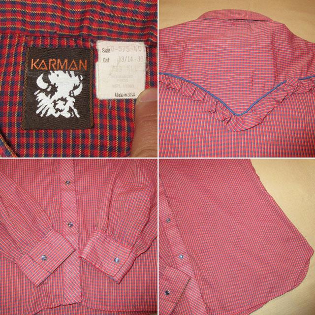 画像5: 古着 KARMAN フリル付き レディース ウエスタンシャツ RED チェック USA製 ヴィンテージ 70's /170420