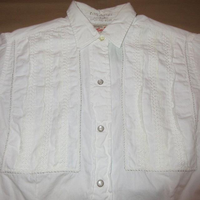 画像3: 古着 Tem Tex レース レディース ドレスシャツ ウエスタンシャツ カフス WHT ヴィンテージ 70's /170420