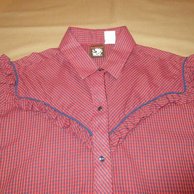 画像3: 古着 KARMAN フリル付き レディース ウエスタンシャツ RED チェック USA製 ヴィンテージ 70's /170420