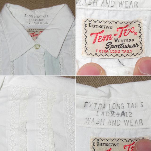 画像5: 古着 Tem Tex レース レディース ドレスシャツ ウエスタンシャツ カフス WHT ヴィンテージ 70's /170420