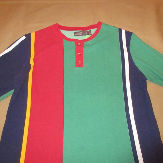 画像3: 古着 HAWKINGS McCGILL マルチストライプ ヘンリーネック 鹿の子 カットソー アンダーウェア 長袖Tシャツ MIX 00's / 170427