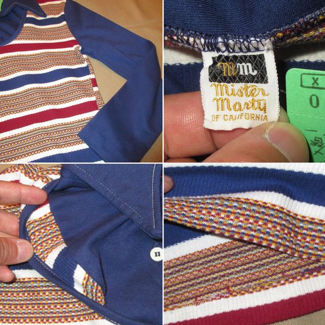 画像4: 古着 Mister Marty レイヤード ニット カットソー アンダーウェア 長袖Tシャツ MIX/NVY 70's / 170427