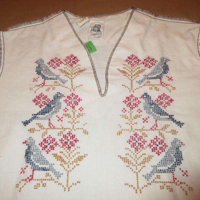 画像3: 古着 KENNINGTON ケニントン 鳥 花 刺繡 プルオーバー 7分袖 民族シャツ WHT 70's /170604