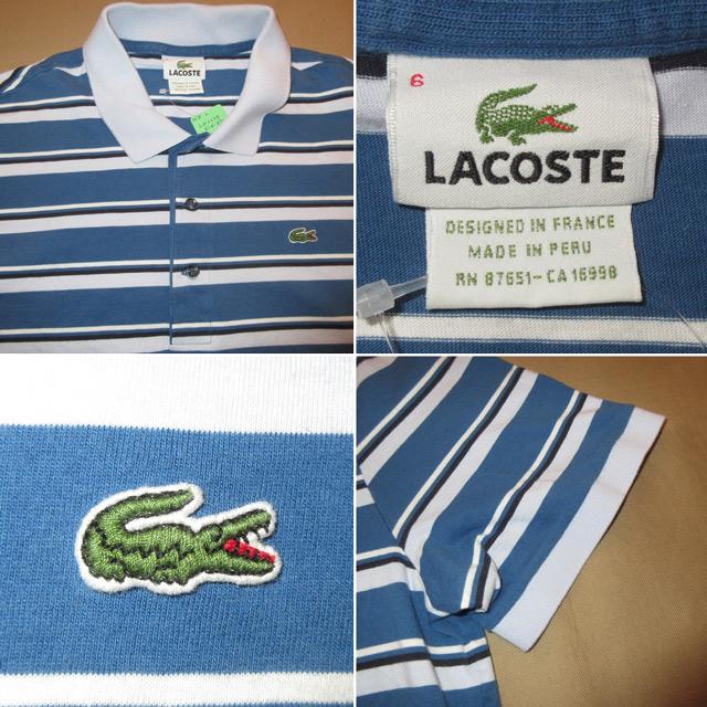 画像4: 古着 LACOSTE ラコステ ボーダーポロ ポロシャツ BLUE 00's / 170610