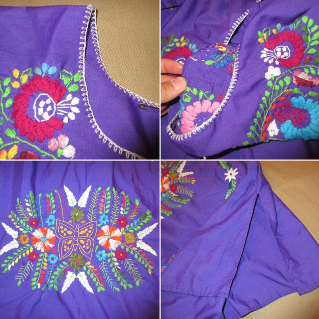 画像5: 古着 メキシカン 花柄 刺繡入り ヒッピー フォークロア ワンピース PUP 90's /170613