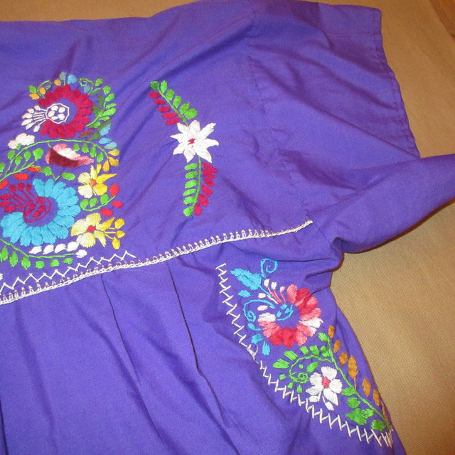 画像4: 古着 メキシカン 花柄 刺繡入り ヒッピー フォークロア ワンピース PUP 90's /170613