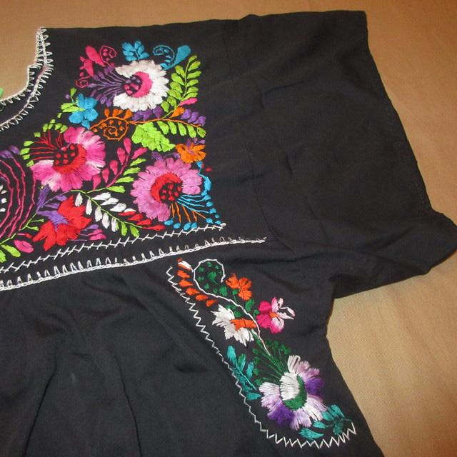 画像4: 古着 メキシカン 花柄 刺繡入り ヒッピー フォークロア ワンピース BLK 90's /170613