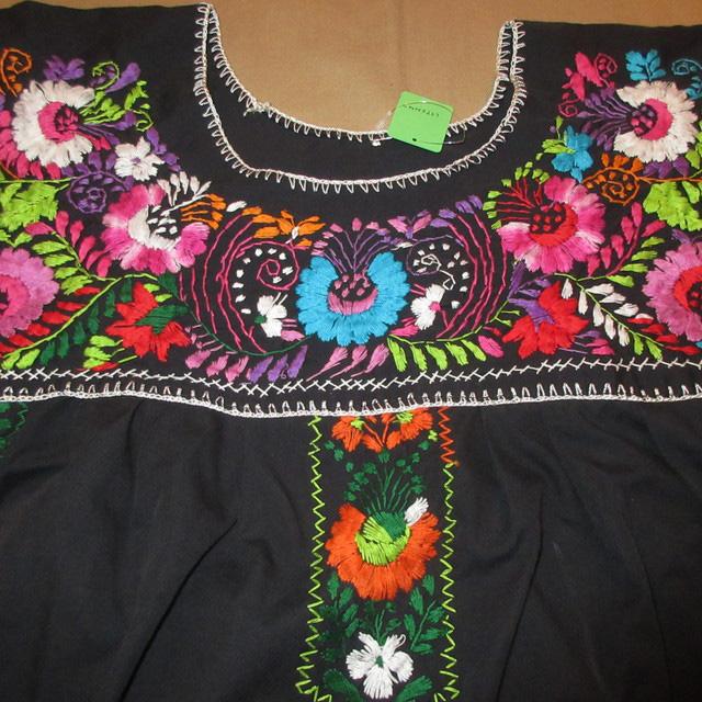 画像3: 古着 メキシカン 花柄 刺繡入り ヒッピー フォークロア ワンピース BLK 90's /170613