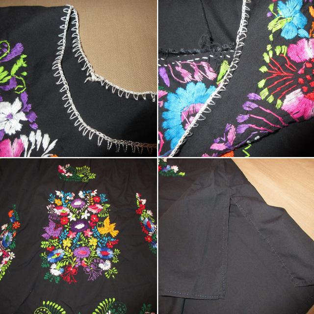 画像5: 古着 メキシカン 花柄 刺繡入り ヒッピー フォークロア ワンピース BLK 90's /170613