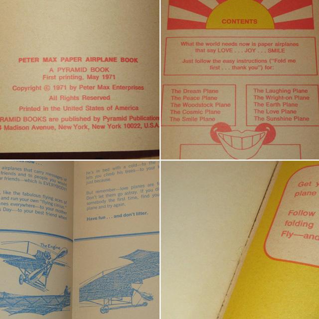 画像4: アンティーク peter max ピーターマックス PAPER AIRPLANE BOOK 紙飛行機 本 コレクタブル USA製 70's / 170709