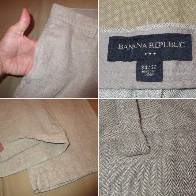 画像3: 古着 BANANA REPUBLIC バナナロパブリック HBT ナチュラル ヘンプ リネン パンツ NAT 00's /170718