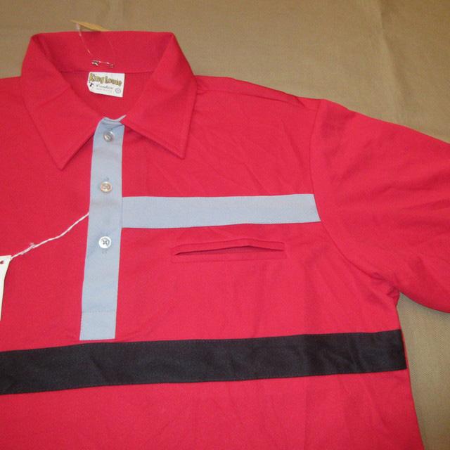 画像3: デッドストック 新品 KING LOUIE キングルイ プルオーバー ポロ ボーリングシャツ 半袖シャツ USA製 RED 70's / 170719