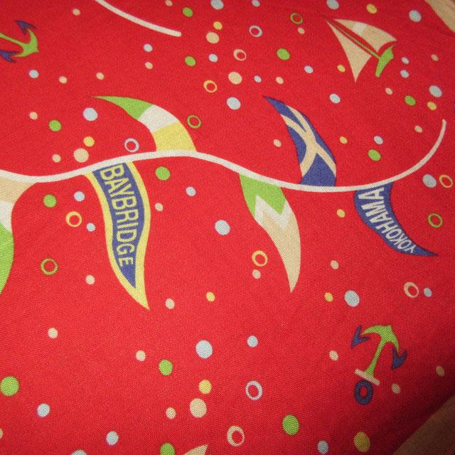 画像3: アンティーク YOKOHAMA BAYBRIDGE STARS マリン スーベニア バンダナ スカーフ RED / 170726