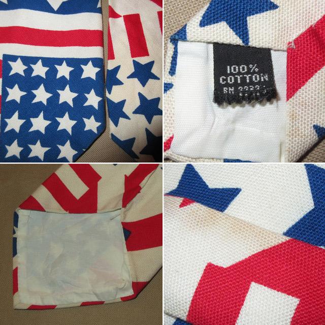 画像3: 古着 70〜80's UNKNOWN AMERICAN FLAG アメリカ国旗 星条旗 コットン ネクタイ WHT / 170726