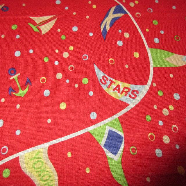 画像2: アンティーク YOKOHAMA BAYBRIDGE STARS マリン スーベニア バンダナ スカーフ RED / 170726