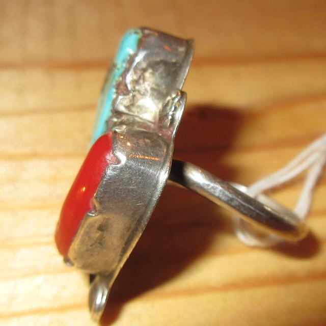 画像2: アンティーク ナバホ族 インディアンジュエリー ターコイズ サンゴ シルバーリング 指輪 / 170803