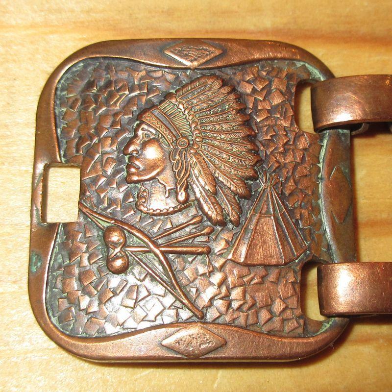 画像2: アンティーク インディアンヘッド カッパー 銅 ブレスレット インディアンジュエリー バングル / 170803