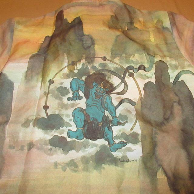 画像3: 古着 70's Landmark 風神 雷神 和柄 日本画 水彩画 総柄 ポリシャツ 長袖シャツ BRW  /170830