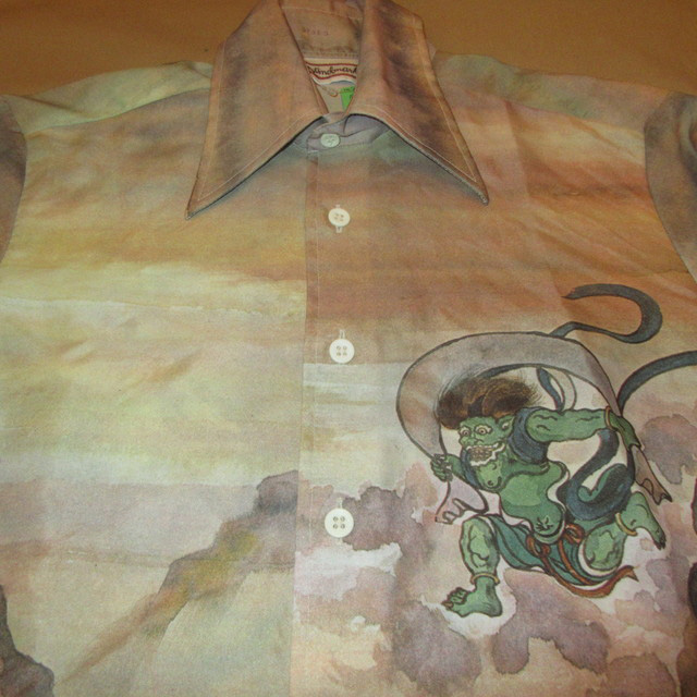 画像4: 古着 70's Landmark 風神 雷神 和柄 日本画 水彩画 総柄 ポリシャツ 長袖シャツ BRW  /170830