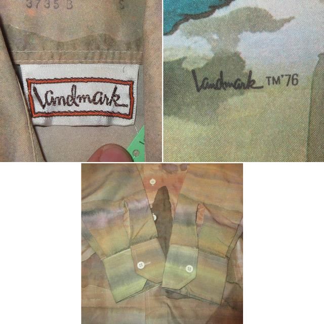 画像5: 古着 70's Landmark 風神 雷神 和柄 日本画 水彩画 総柄 ポリシャツ 長袖シャツ BRW  /170830