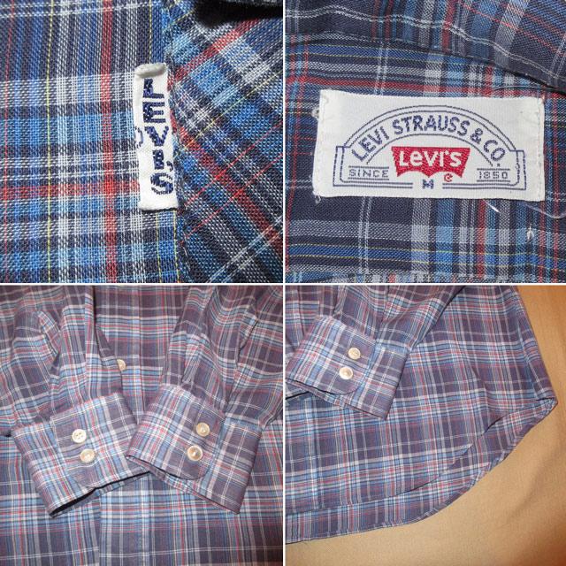 画像4: 古着 70's LEVI'S リーバイス BIG E チェック 長袖シャツ BLUE  /170830