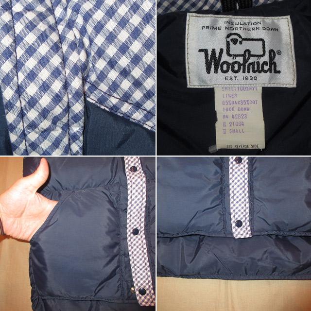画像4: 古着 美品 80's WOOLRICH ウールリッチ ギンガムチェック切り替え ダウンベスト NVY / 170925