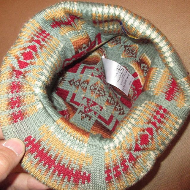 画像5: 新品 00's PENDLETON ペンドルトン ネイティヴ柄 つば付き ニットキャップ 帽子 GRN  / 171221