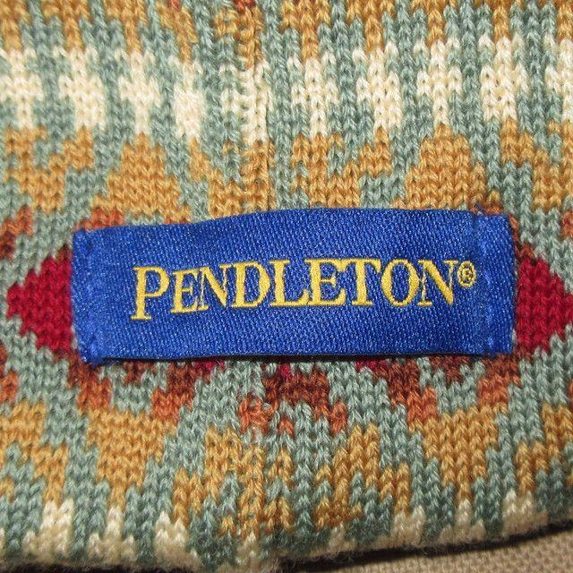 画像4: 新品 00's PENDLETON ペンドルトン ネイティヴ柄 つば付き ニットキャップ 帽子 GRN  / 171221