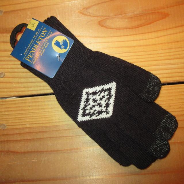 画像1: 新品 00's PENDLETON ペンドルトン ネイティヴ柄 ニットグローブ 手袋 BLK/WHT / 180113