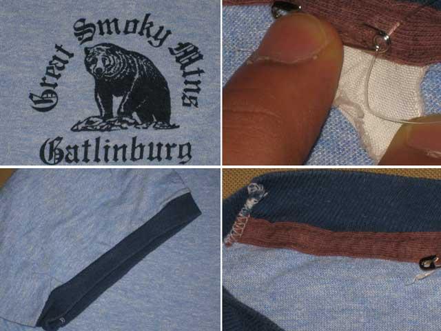 画像3: 古着 熊 リンガー Tシャツ トリム 霜降り 70〜80年代