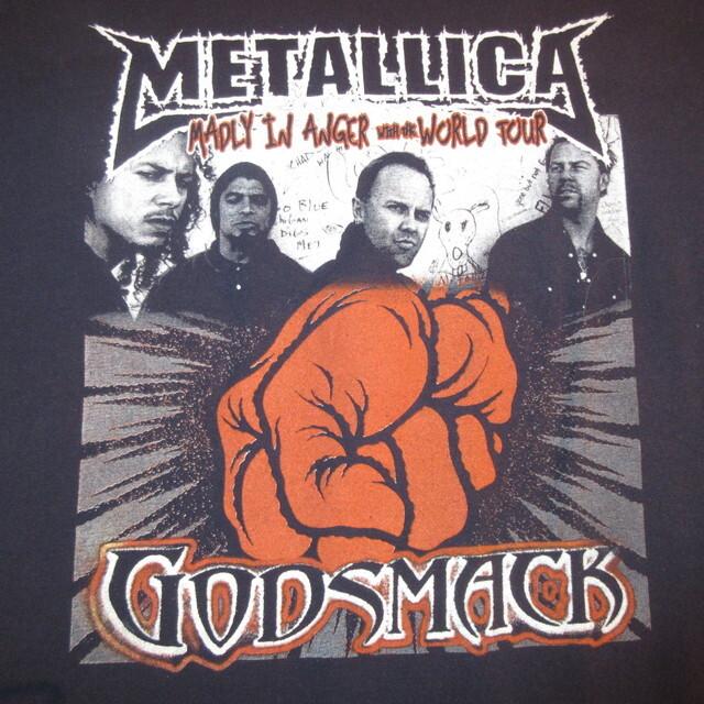 画像1: USED 00's METALLICA メタリカ MADLY IN ANGER TOUR with GODSMACK 長袖 Tシャツ NVY / 210509 (1)